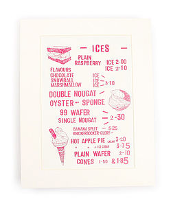 Seaside Cafe 'Delicious Ices' Art Print - inspired by the seaside