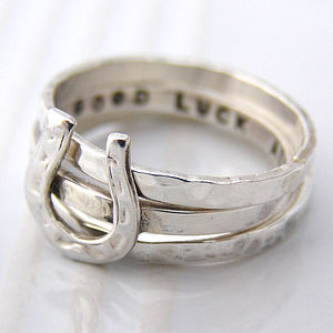 Personalised Horse Shoe Stacking Rings - women's jewellery