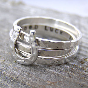 Personalised Horse Shoe Stacking Ring - lucky charm jewellery