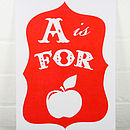 A Is For Apple Alphabet Risograph Print