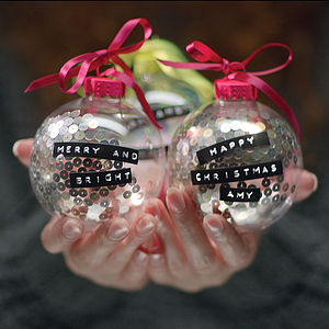 Personalised Tape Sequin Or Snow Bauble - shop the christmas advert