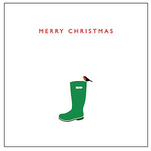 'Robin On Green Wellie' Xmas Card