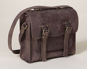 Full Grain Batik Lined Leather Satchel - frequent traveller