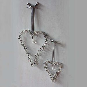 Silver And Grey Mix Beady Hearts - outdoor decorations