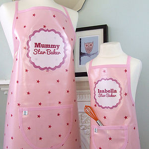 Pink 'Star Baker' Personalised Oilcloth Apron - kitchen