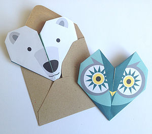 Origami Notepaper Set : Owl - all purpose cards, postcards & notelets