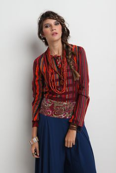 Tie Neck Tunic Blouse Red-Stripe