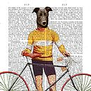 Greyhound Cyclist, Dictionary Print