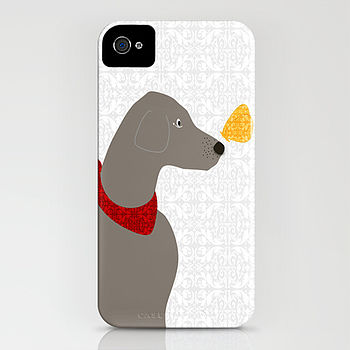 Weimaraner Dog With Butterfly On iPhone Case
