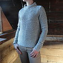 Stripe Funnel Neck Jumper in Ecru/Navy