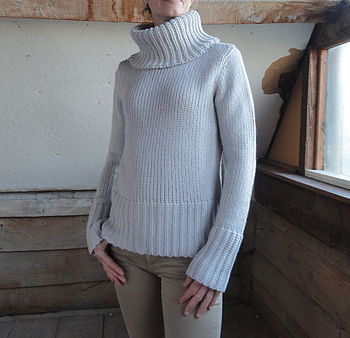 Chunky Roll Neck Jumper in Natural