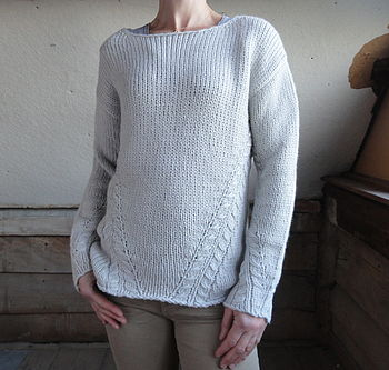 Crew Neck with Cable Details Jumper in Natural