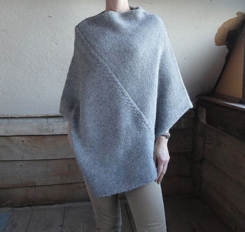 Cable Stitch Poncho in Flannel Grey