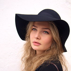 70's Floppy Wool Hat Navy - womens