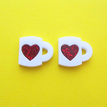 Heart Mug Stud Earrings