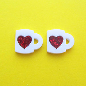 Heart Mug Stud Earrings - earrings