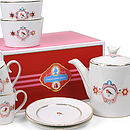 White And Pink Love Birds Tea Set