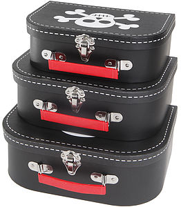 Set Of Three Pirate Suitcases - toy boxes