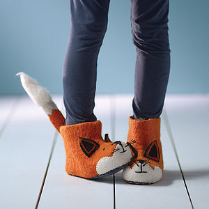 Adult Finlay Fox Felt Slippers - slippers