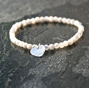 Handmade Heart And Mother Of Pearl Bracelet