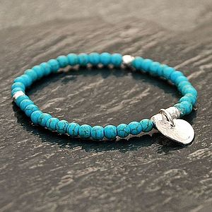 Handmade Silver Heart And Turquoise Bracelet
