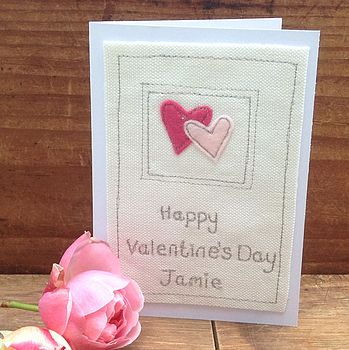 Personalised Embroidered Valentine's Card