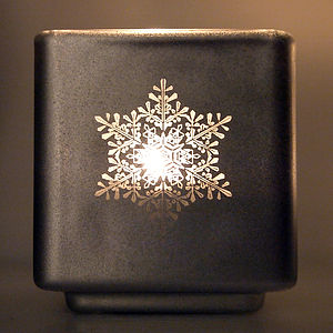 Engraved Snowflake Tealight Holder Set - lighting