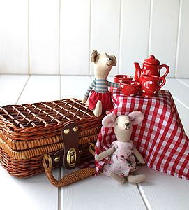 Miniature Ceramic Red Picnic Tea Set In A Wicker Basket - traditional toys & games