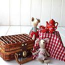 Ceramic Red Picnic Tea Set In A Wicker Basket