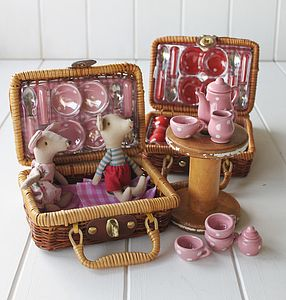 Ceramic Tea Set In A Wicker Basket