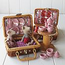 Miniature Ceramic Red Picnic Tea Set In A Wicker Basket