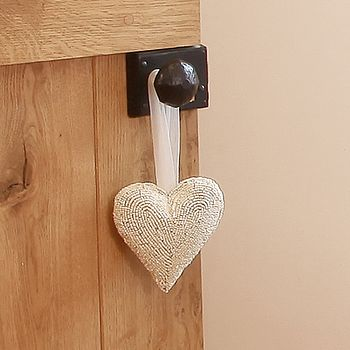 Snow White Beaded Heart Hanging Decoration