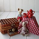 Ceramic Red Picnic Tea Set In A Wicker Basket