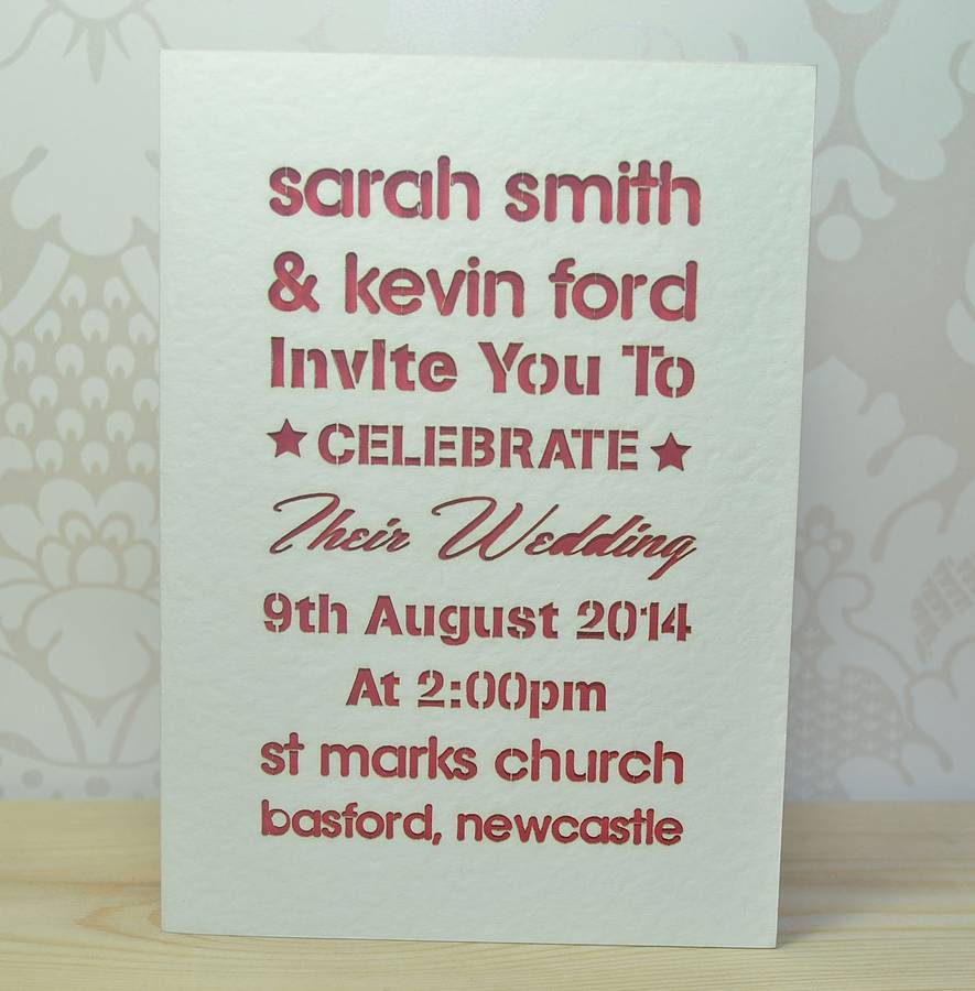 Laser cut typography wedding invitation by sweet pea design laser cut typography wedding invitation stopboris Images