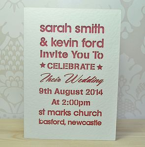 Laser Cut Typography Wedding Invitation - wedding stationery