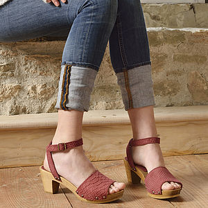Yara Brick Suede Wooden Sandals - shoes