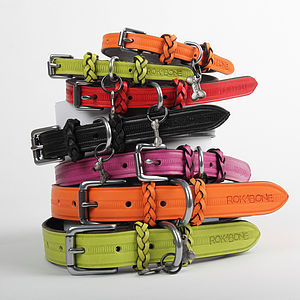 Huxley Leather Dog Collar - walking