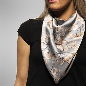 Skeletal Leaf Print Square Silk Scarf