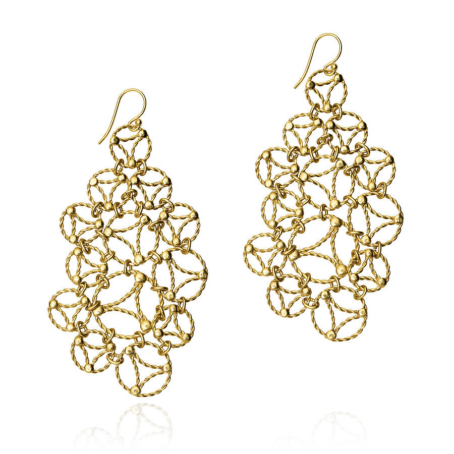 Yellow gold lace chandelier earrings by arabel lebrusan yellow gold lace chandelier earrings arubaitofo Choice Image