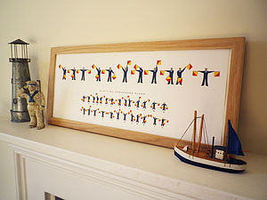 Personalised Naval Semaphore Flags Name Print - posters & prints