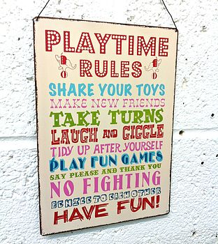 'Playtime Rules' Hanging Metal Sign