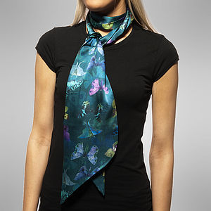 Moth Print Long Double Sided Silk Scarf - scarves