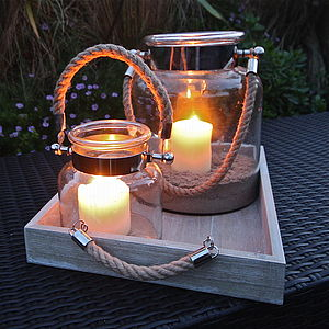 Salcombe Rope Handled Hurricane Lamp - candles