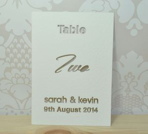 Laser Cut Typographic Wedding Table Cards - place cards
