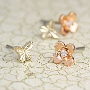 Butterfly And Daisy Earring Set - earrings