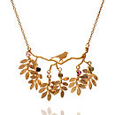 bird and leaves necklace, 22ct gold vermeil