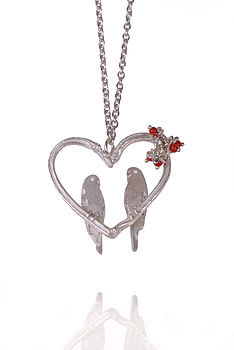 Silver Love Birds Heart Pendant