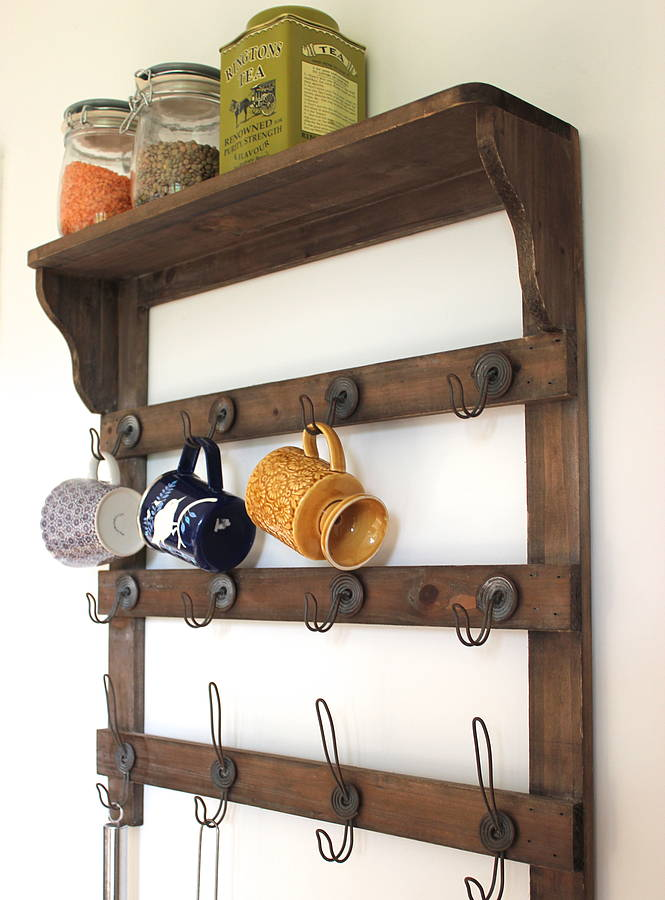 wooden wall shelf with hooks by the forest co. Black Bedroom Furniture Sets. Home Design Ideas