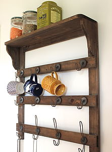 Wooden Wall Shelf With Hooks - furniture