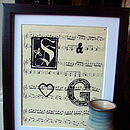 Personalised Vintage Sheet Music Initials Art Print